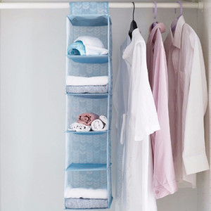 Großhandel Oxford Cloth Garderobe Kleidung Aufbewahrungstasche 5 Schichten Schal-Hut Kleidung Folding hängende Tasche Unterwäsche Closet Organizer DBC DH0631