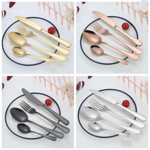 conjuntos de talheres de aço inoxidável faca de mesa ocidental garfo colher colher de chá de talheres set fosco 4 cores exteriores tablewares portáteis LXL882-1