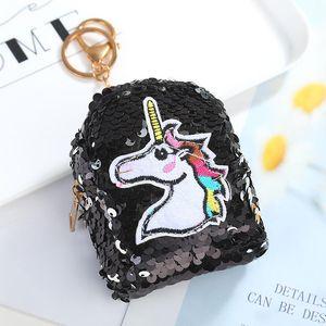Meninas Sereia Lantejoula Coin Purse Unicorn Flamingo Glittering Keychain Bolsa de Dinheiro Mini Carteira Coin Bag Chaveiros Partido Zipper favor newGGA2843