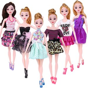 10pc Doll Dress Beautiful Outfit Handmade Party Clothes Top Fashion Skirt per Barbie Noble Doll Best Child Girls'Gift A caso
