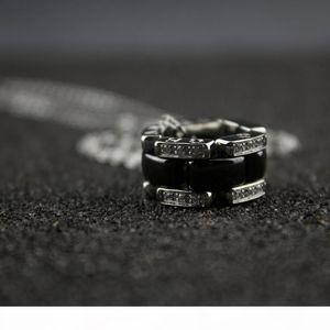Luxury Woman Black Ceramic Necklaces Women Ultra Diamond Silver Chains for Women 925 Charms Fine Wedding Jewelry