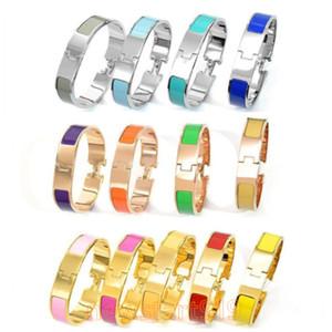 12 milímetros de largura 316 L mulheres de titânio aço de moda ouro rosa de prata h Cuff BraceletsBangles pulseira esmalte cor de pulseira