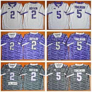 NCAA Kolej 2 Trevone Boykin Jersey Erkekler TCU Boynuzlu Frogsb Futbol 5 LaDainian Tomlinson Formalar Büyük Dikişli Takım Mor Beyaz Gri