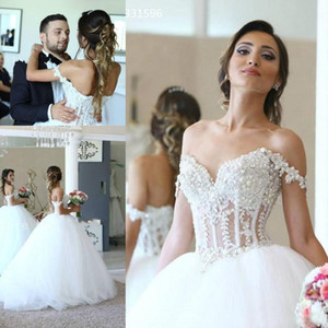 2020 Luxury White See Through Off Shoulder Sweetheart Long Formal Bridal Ball Gown Wedding Dresses Pearl Bride Gowns Vestidos De Noiva