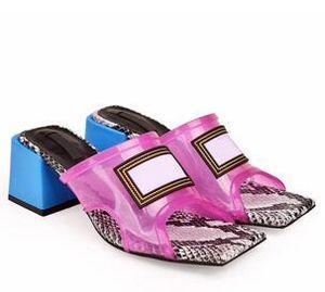 Nuovo donne trasparente tacco medio sandali in PVC sandali in pelle di serpente pelle 6 centimetri 9 centimetri dimensioni tacco alto lusso pantofola 34-43