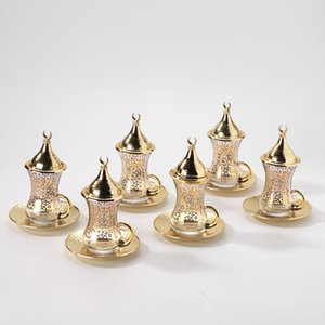 (Conjunto de 6) Turco Handmade chá de cobre Jogo de café Serving Set 6 Pires copo de chá