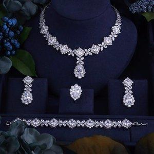 Janekelly Luxus Zirkonia Halskette Armband Ohrringe und Ring 4pcs Dubai volles Schmuckset für Frauen, Brautkleid Abendessen