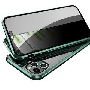 Para iPhone 11 pro Max XS MAS X XR 8 Plus Phone Case com Positivo Anti-pio Rejeitar quadro Voyeurismo vidro temperado resistente alumínio