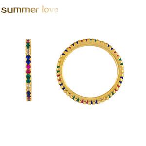 Anello di fidanzamento arcobaleno per donne ragazze placcato in oro 2mm fascia anelli colorati zirconi cubici anelli di eternità oro riempito moda festa nuziale