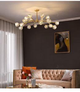 2021 Modern Vintage Copper Crystal Chandelier Luxury Large Chandeliers Lustre Kitchen Molecular Bedroom Ceiling Chandelier Lighting