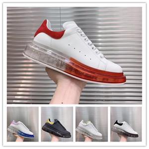 2019 New Season Designer de luxo sapatos casuais mens Limpar Sole Trainers Cristal Vermelho Transparente inferior Flats Homens Mulheres plataforma Sneakers M02