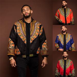 2019 Veste africaine Imprimer Rich Bazin Afrique à manches longues mode traditionnel Dashiki Manteau pour Homme Vêtements S-XL