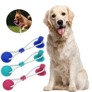 Pet Dog Bite Molar juguete admiten fuentes del perro del tirón de la cuerda de la bola de mascar Juguetes Animales limpieza del diente juguetes con ventosa para los pequeños perros