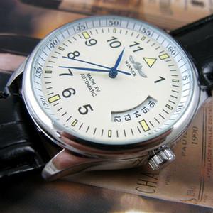 Vainqueur automatique de montres pour hommes Montre mécanique à remontage manuel Jour Date Bracelet analogique en cuir Montre-bracelet Mode Sport J190706
