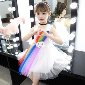 INS nuova principessa abito estivo coreana versione super stile TUTU dell'arcobaleno delle ragazze del pannello esterno 2 colori Trasporto libero