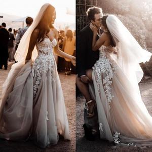 Стильный Bohemian Свадебные платья Line Милая Кружева Аппликации из бисера Страна Свадебные платья с Вуаль High Split юбка пляж платье невесты
