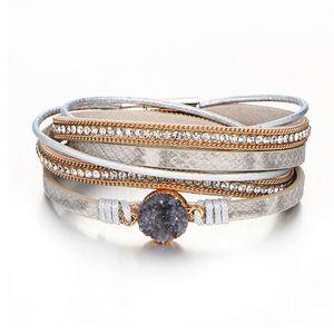 Bracciale in pelle multistrato vintage per donna Uomo Bracciale avvolgente in pelle multicolor Femme Fashion Jewelry Bracciale con fibbia magnetica