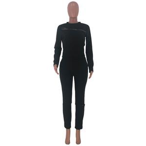 Wholesale-Piece Set Hoodies Suits Zipper Sweatsuit Leggings Outfits Hole Jogger Suit Sports Suit Fall Winter Ripped Clothing 1779