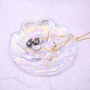 인어 쉘 유리 접시 레이저 보석 플레이트 장식 포즈 소유 플레이트 패션 화장품 보관 접시 미용 도구 HHA-319