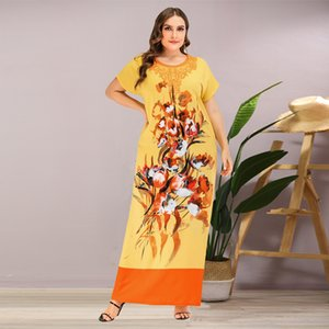 Siskakia Ethnic Print Long Dress Plus Size O Neck Long Sleeve Maxi Dresses Yellow Summer 2020 Large Size Arabian Women Clothing T200604