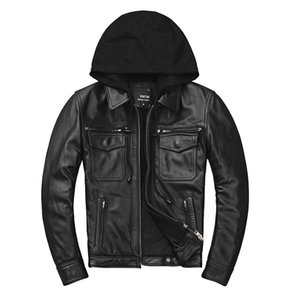 Seveyfan 2020 Мужчину подлинной натуральной кожи Куртка с капюшоном Тонкого мотоцикл Байкер натуральной кожи Куртка для мужчин R3388