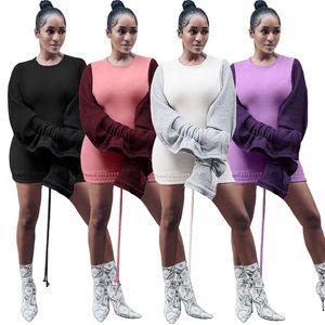 Mulheres escovado mini vestidos casuais Elegante sexy clube com painéis cordão manga comprida plissado saias longas roupas de outono inverno venda quente 1385
