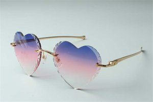 Best-selling Direct sales high-quality new heart shaped cutting lens sunglasses 8300687, metal leopard temples size: 58-18-140mm