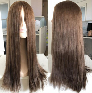 Kosher Wigs 10A Grade Light Brown Color #6 Finest Peruvian Virgin Human Hair Silky Straight 4x4 Silk Base Jewish Wig Fast Free Shipping