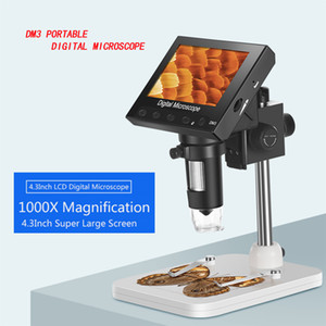 Microscopio Digital DM3 soporte 8 LED portátil de pantalla LCD de 4,3 pulgadas microscopio electrónico 1000X USB para PCB Placa base Reparación