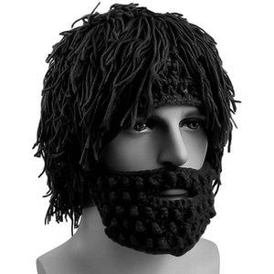 Wig Beard Hats Mad Scientist Caveman Handmade Knit Warm Winter Caps Men Women Halloween Gifts Funny Beanies Party Supplies