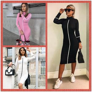 Femmes Designer Moulante Robes Stand Col À Manches Longues Femmes Robe D'Été Automne Casual Femmes Crayon Robe