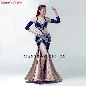 Women Belly Dance Wear Oriental Dance Clothes Upscale Customized Diamond Sexy Bag Hip Dress Costume Autumn And Winter