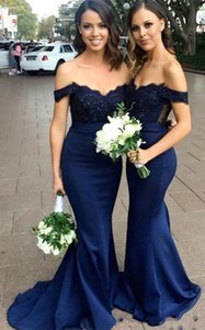 New Navy Blue Mermaid Bridesmaid Dresses Bohemian Cap Sleeves Chiffon Satin Wedding Guest Dresses Garden Maid Of Honor Gowns Cheap