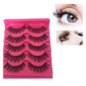 5pairs / lot New Moda feminina suave Natural Cruz Longo falsificados Eye Lashes Handmade grossas falsos Ferramentas de maquiagem Cílios beleza Extensão