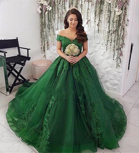 Off Shoulder Lace Appliques Ball Gown Wedding Dresses Custom Made Spring Long Bridal Gowns Princess Bandage Back Formal Robe De Mariage