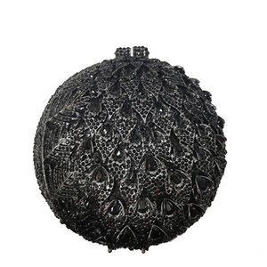 High Quality 2020 New Black Rhinestone Crystal Clutches Circle Shape Women Evening Clutch Purse Fashion Ladies Diamond Handbags