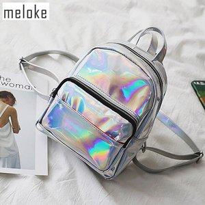 Meloke 2019 nuevas mujeres holograma mochila láser daypacks mujer plata pu cuero holográfico bolsas grande chica escuela bolsa