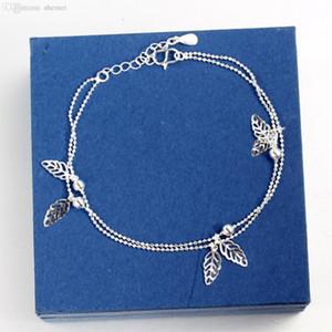 Venta al por mayor-2016 Mujeres 925-Sterling-Silver Anklet Leaf Ankle Bracelet Bead Anklets para las mujeres Moda joyería del pie Cadenas de cuerpo nuevo