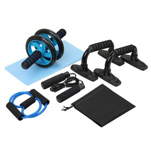 5-in-1 Ab Roller Wheel Kit with Knee Pad, Jump Rope, Push Up Bars , Spring Exerciser Home Gym Equipment for Men Women