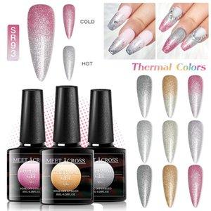 MEET ACROSS 8ml Thermal Platinum Gel Soak Off UV Gel Polish Temperature Color-changing Varnish Shining Nail Art varnish