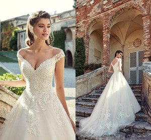 2019 Off The Shoulder Lace A Line Wedding Dresses Tulle Lace Applique Wedding Bridal Gowns robe de mariée BC1185