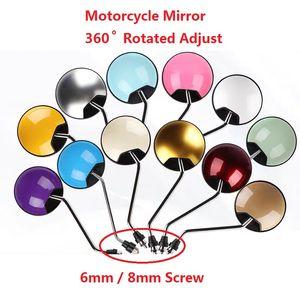 6 / 8mm 나사 라운드 여러 가지 빛깔의 오토바이 후면 거울 360 ° 회전 조정 유니버설 백미러 거울 오토바이 사이드