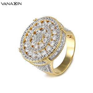 VANAXIN CZ Inlaid Crystal Round Rings Gold Silver Color Hip Hop Fashion Round Rings Men Engagement Wide Bling Bling Jewelry Gift C18112301