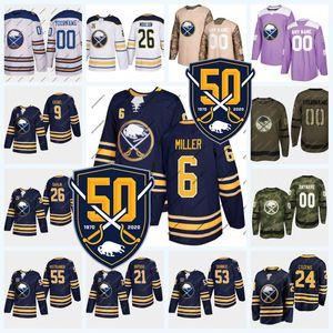 6 Colin Miller Buffalo Sabres 50th Seasons Jersey Dylan Cozens Jack Eichel Jeff Skinner Rasmus Dahlin Rasmus Ristolainen Sheary Pominville