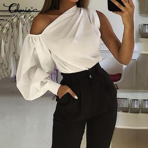 Celmia Plus Size Fashion Women longos da luva 2020 Cold Shoulder Lady Sólidos Blusas Escritório ocasional solto Top elegante Blusas 7