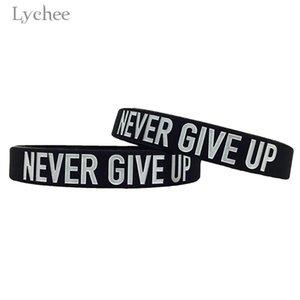 Lichi Harajuku unisex Torreta de silicona Palabra nunca da para arriba mejor amigo brazaletes de las pulseras de goma flexible Amistad Muñequera