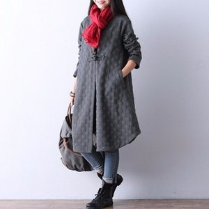ZOGAA Womens Fashion Long Coat Women's Solid Loose Causal Outwear Female Knitted O-Neck Covered Button Coat Women Cotton Outwear