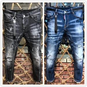2020 de lujo ciclista nueva llegada de calidad superior marca de diseño AMR hombres Denim Jeans delgado bordado Agujeros pantalones forman los pantalones del tamaño 44-54 italiana