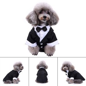 Gentleman Dog Shirt Puppy Pet Clothes Costume Fashion Dog Prince Wedding Shirt Formal Tuxedo Suit Style for Weddings New Year's