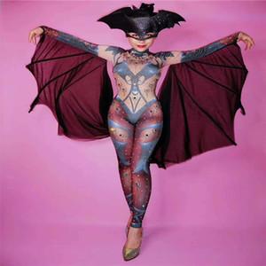R79 weibliche Satge Dance Body Sänger Leistung trägt Body DJ Kleid Mantel Halloween Fledermaus Overall Party Kostüme zeigen ds CLOAK Rave